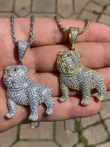 Solid 925 Sterling Bull Dog Pendant Necklace Iced Gold Silver Necklace Hip Hop