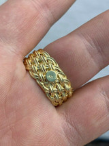 Mens Braided Weave RING Real 14k Gold Over Solid 925 Silver Pinky Wedding Band