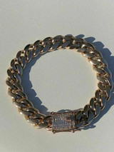 Men's Miami Cuban Link Bracelet 14k Rose Gold Plated 12mm 1ct Diamond Clasp ICY