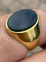 Men's 14k Gold Over Solid 925 Sterling Silver Black Onyx Signet Ring Sz 7-13