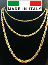"""Men's 14K Gold Over Real Solid 925 Silver Rope Chain MADE IN ITALY 20-30"""" 3-5mm"""