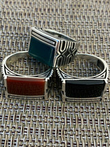 Real Solid 925 Sterling Silver Black Onyx Green Or Red Agate Men's Stone Ring