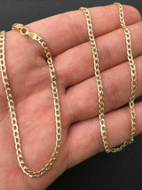 Cuban Chain Two Tone 14k Gold Solid 925 Silver Diamond Cut ITALY Mens Womens 3mm