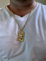Solid 925 Silver & 14k Gold Jesus Piece HIP HOP 0.1ct REAL Natural Diamond Iced