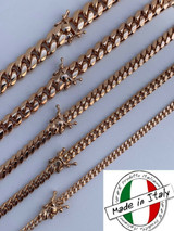 Miami Cuban Link Chain Or Bracelet 14k Rose Gold Over Solid 925 Silver Box Lock