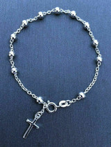 4mm Rosary Bead Rosario Cross Bracelet Genuine Solid 925 Sterling Silver Italy