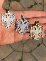 "Solid 925 Silver Albanian Kosova Two Headed Eagle Pendant Diamond 2"" Big Piece"
