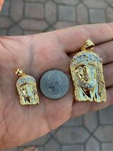 Solid 925 Silver 14k Gold Finish Jesus Piece ITALY Necklace HIP HOP Real Iced
