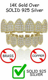 14k Gold Over Real SOLID 925 Silver Diamond GRILLZ Teeth Top Bottom Hip Hop ICY