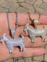 Real Solid 925 Sterling GOAT Pendant Bling Necklace Iced Gold Silver HipHop Mens
