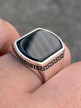 Real Solid 925 Sterling Silver Black Onyx Mens Signet Ring Size 7 8 9 10 11 12