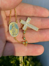 Rosary Beads Necklace 14k Gold & Solid 925 Sterling Silver Rosario Men's Ladies
