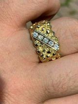 Men's 14k Gold Over REAL Solid 925 Sterling Silver Diamond Nugget Ring Sz 7-13