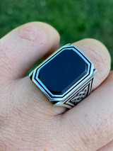 Real Solid 925 Sterling Silver Black Onyx Mens Large 25mm Signet Or Pinky Ring