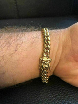 8mm Mens Cuban Miami Link Bracelet & Chain Set 14k Gold Plated Stainless Steel