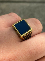 14k Gold Over Real Solid 925 Sterling Silver Black Onyx Pinky Ring 7-13 Signet