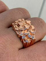 Men's 14k Rose Gold Over REAL Solid 925 Sterling Silver Nugget Ring Sizes 6-13