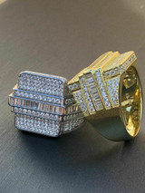 Men's Hip Hop REAL ICY Solid 925 Silver 5ct Baguette CZ Pinky RING 14k Gold