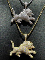 Mens Solid 925 Silver Real Iced 2ct Diamond Rasta Lion Icy Leo Pendant 14k Gold