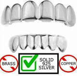 Real SOLID 925 Sterling Silver Custom GRILLZ Teeth Top Bottom Hip Hop Mouth
