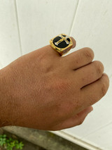 Mens 14k Gold Over Real Solid 925 Silver Jesus On Cross Ring Black Onyx Hip-Hop