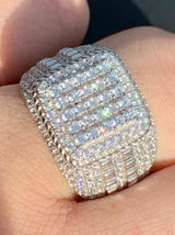 Men's Real Solid 925 Sterling Silver Ring Real Icy Square Cluster Hip Hop Pinky