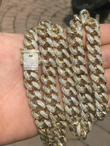 """Men's Curb Miami Cuban Link 28"""" Chain 14k Gold Plated 12mm Man Made Diamond ICY"""