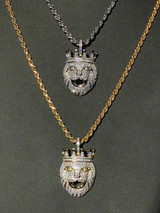 Lion W. Crown Solid 925 Sterling Silver Pendant Diamond African Rasta LEO Chain