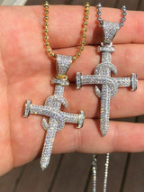 "Mens Solid 925 Silver Real Iced 3ct Diamond Nail Cross LARGE 2"" Pendant 14k Gold"
