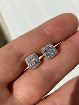 Real Solid 925 Sterling Silver Iced CZ Hip Hop Earrings Studs Square ICY Mens