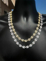 Custom Men's Mariner Gucci Link Chain ICY Lab Diamond Solid 925 Silver 14K Gold