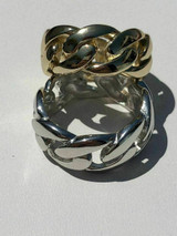 Men's Miami Cuban Link RING 14k Gold Rhodium Over 925 Silver Pinky Wedding Band