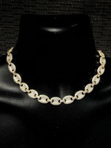 """14k Gold Over Solid 925 Sterling Silver Mens Gucci Link Choker Chain 18"""" Diamond"""