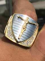 Men's 14k Yellow Gold Over Solid 925 Silver Cross Shield Ring W. Diamond ICY