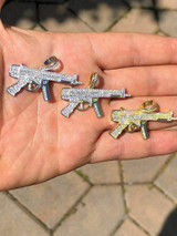 Real Solid 925 Silver AK-47 Machine Gun Diamond Piece Super Icy Pendant W. Chain