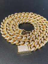 Miami Cuban Link Chain 14k Yellow Gold Over Solid 925 Silver Icy 10mm HEAVY ICED