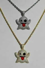 Solid 925 Silver Snapchat Laughing Ghost Emoji Flooded Out Diamond W. Rope Chain