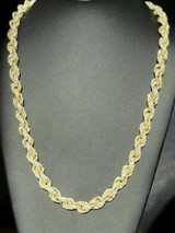 14k Gold Over Real Solid 925 Sterling Silver Men's Rope Chain Diamond 12mm ICY