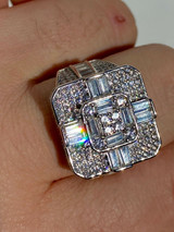 Large Real Solid 925 Sterling Silver Men's Baguette Diamond Cross Ring Hip Hop