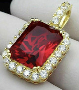 14k Gold Over Solid 925 Silver 1ct Simulated Diamond Ruby Piece Pendant Gemstone