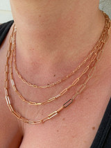 14k Rose Gold Over Solid 925 Silver Paperclip Rolo Chain 2.5mm- 4mm Necklace