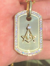 Sterling Silver 925 *14k Gold Plated* Free Mason Masonic Dog Tag Diamond Pendant