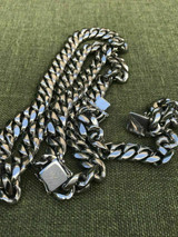 14mm Mens Miami Cuban Link Bracelet & Chain SET Stainless Steel Just like Silver