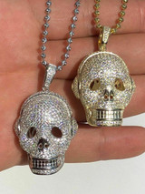 14k Gold Over Solid 925 Silver Skull Headphone Pendant 14k Gold Large 3D Diamond