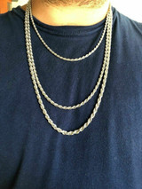 """Men's Women's Real Solid 925 Sterling Silver Rope Chain 1.5-5mm 16""""-30"""" ITALY"""