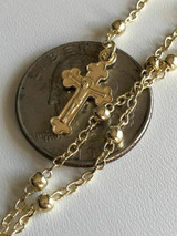 """Ladies Rosary Beads Necklace 18"""" 14k Gold Over Solid 925 Sterling Silver Italy"""