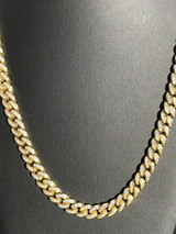 14K Gold Over Stainless 10mm Thick 40ct Lab Diamond Men's Miami Cuban Link Chain