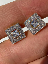 Mens Real Solid 925 Silver Iced CZ Hip Hop Earrings Studs 14k Gold Finish Square