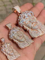 Real Hip Hop 14k Rose Gold Over 925 Sterling Silver Jesus Piece CZ Pendant Iced