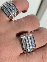 Mens REAL Solid 925 Sterling Silver Iced Baguette CZ Square Ring Pinky Or Signet